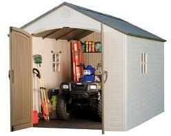 8ft x 17 1/2ft Lifetime Outdoor Storage Shed & FREE Tool Corral